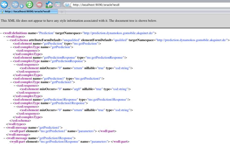 WDSL of the Prediction web service
