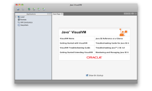 VisualVM start screen