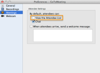 GoToMeeting - Meeting preferences panel