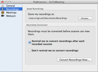 GoToMeeting - Recording preferences panel