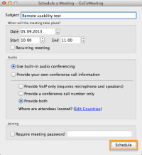 GoToMeeting - Schedule meeting panel