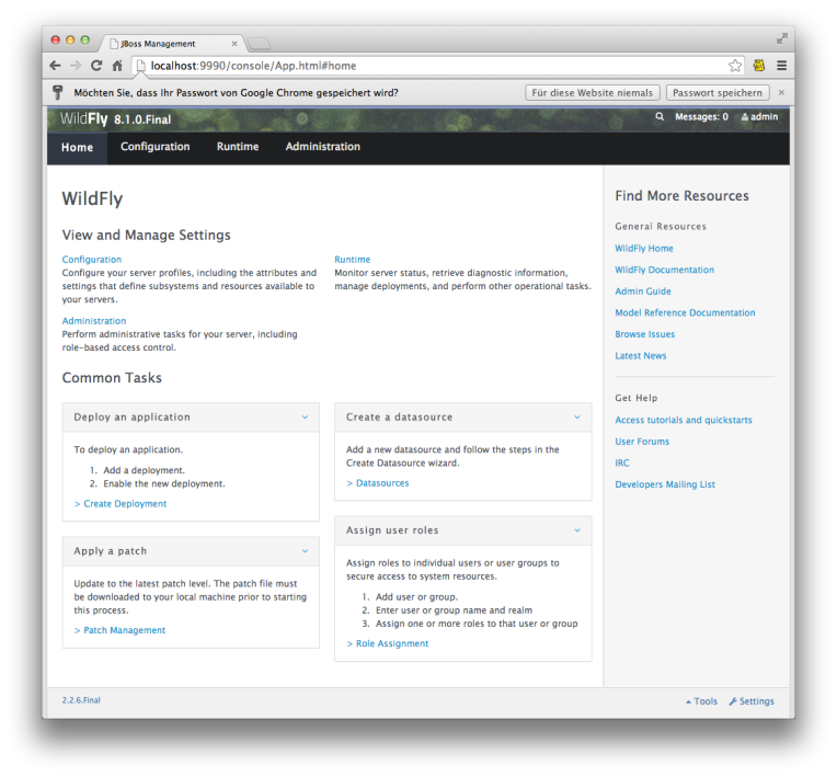 JBoss Wildfly Web Console
